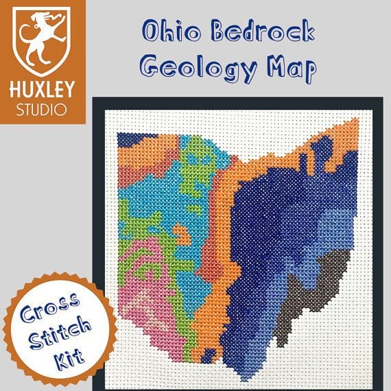 KIT Ohio Cross Stitch Kit DIY  Ohio State Geology by HuxleyStudio