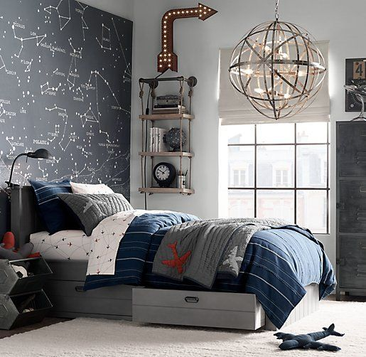 Airplane Sheet Set in queen $139 Kinda like the constellation map on the wall, and the hanging light