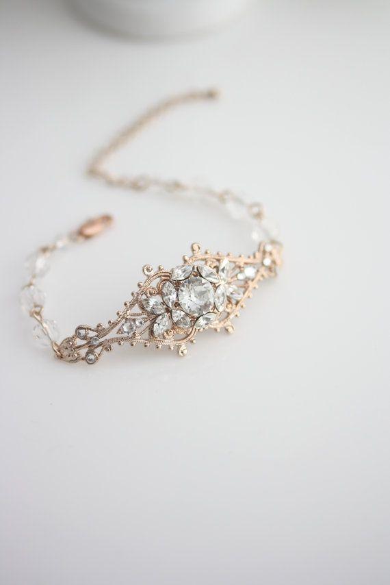 Bridal Crystal Cuff Rose Gold Filigree Bracelet Rhinestone Wedding Bracelet Vintage Bridal Jewelry SIAN CUFF BRACELET