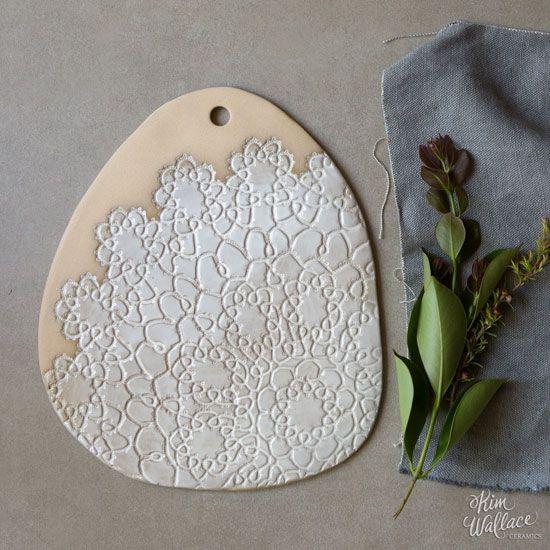 Medium Vintage Lace serving board ~ natural 10, Handmade Australian Ceramics - KW Ceramics