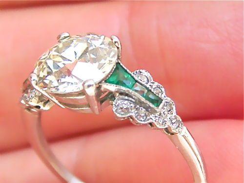 ESTATE ART DECO 1.8ct EUROPEAN CUT DIAMOND EMERALD PLATINUM ENGAGEMENT RING | eBay......OMG!!!!
