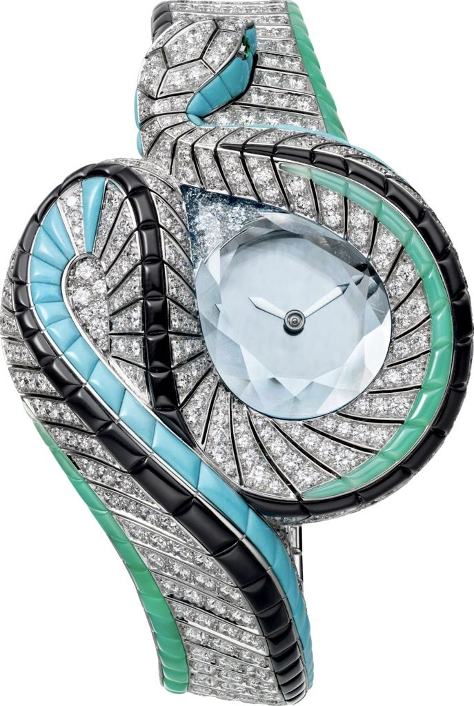 """CARTIER. High Jewellery """"Serpent d'Eau Mystérieux"""" watch, Manufacture mechanical movement with manual winding, mysterious hour and minute display, calibre 9981 MC. Rhodium-finish 18K white gold case and bracelet set with a faceted aquamarine of 13.34cts, 686 brilliant-cut diamonds totaling 16.27cts, 57 turquoises, 43 chrysoprases, 62 onyx, emerald eyes, sapphire crystal, rhodium-finish steel sword-shaped hands. Water-resistant to 3 bar (approx. 30 metres). Unique piece. #CartierMagicien…"""