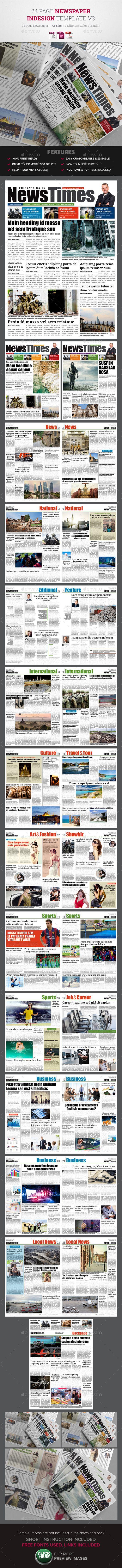 24 Page Newspaper Indesign Template #design Download: http://graphicriver.net/item/24-page-newspaper-indesign-template-v3-/12240434?ref=ksioks