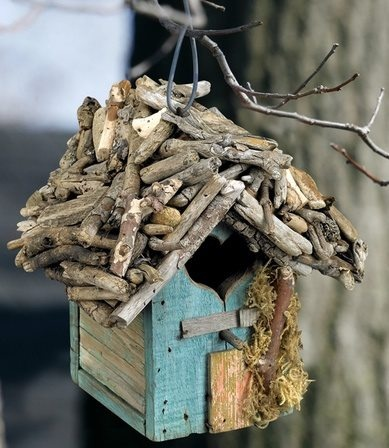 Rustic little twig birdhouse...I love this!