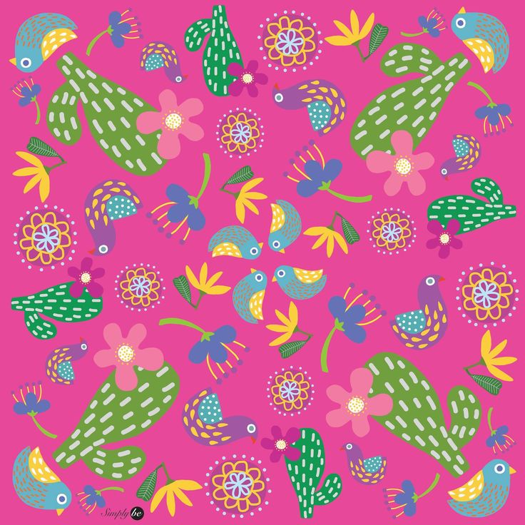 Scarf by Simply be, size 100x100 cm., Silk Satin fabric, Cactus II - pink