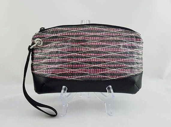 Pink Recycled Sail Wristlet Anchor Lining Carbon Fiber Sailcloth Bag #sailcloth #pink #wristlet #anchors #sailclothbag #recycledsails #nautical #nauticalstyle #clutch #giftforher #beach #magenta
