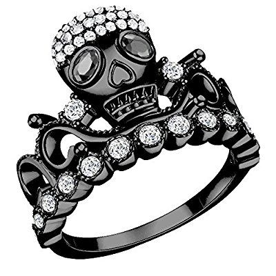 Black Tiara Skull Ring - Black Rhodium Plated with CZ features