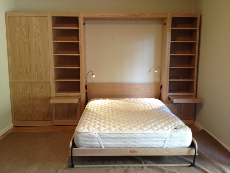 No frills modern murphy bed with bookcase and wardrobe Modern murphy bed