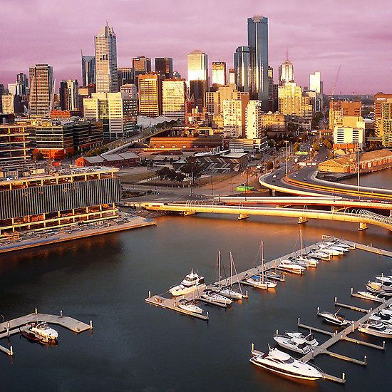 Melbourne city and Docklands at sunset