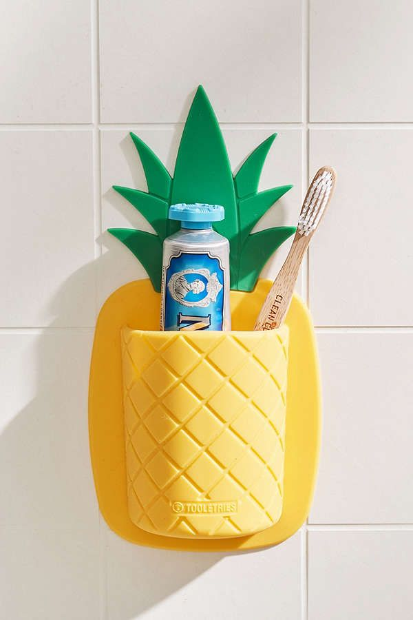 Slide View: 1: Tooletries Pineapple Toothbrush Holder