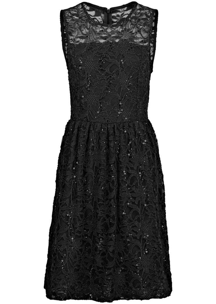 Jetzt anschauen: Eyecatcher! Ärmelloses Kleid mit aufwendigem Spitzenbesatz, ausgestelltem Rock und hübschem Cut-Out im Rücken.