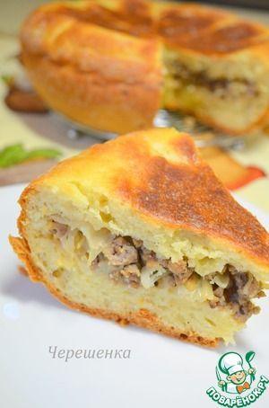 Творожный пирог с мясом и капустой в мультиварке