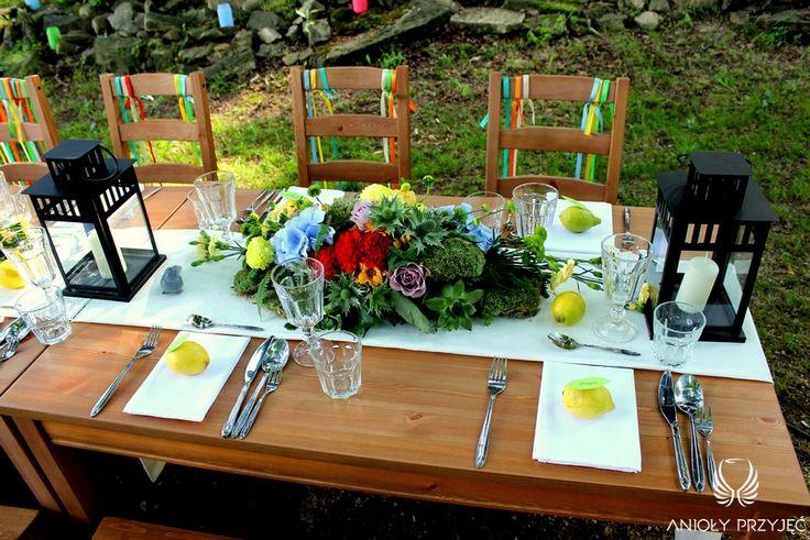 7. Forest Wedding,Outdoor wedding decor,Centerpiece,Lemon place card / Leśne wesele,Wesele w plenerze,Dekoracje stołu,Owocowe winietki,Anioły Przyjęć