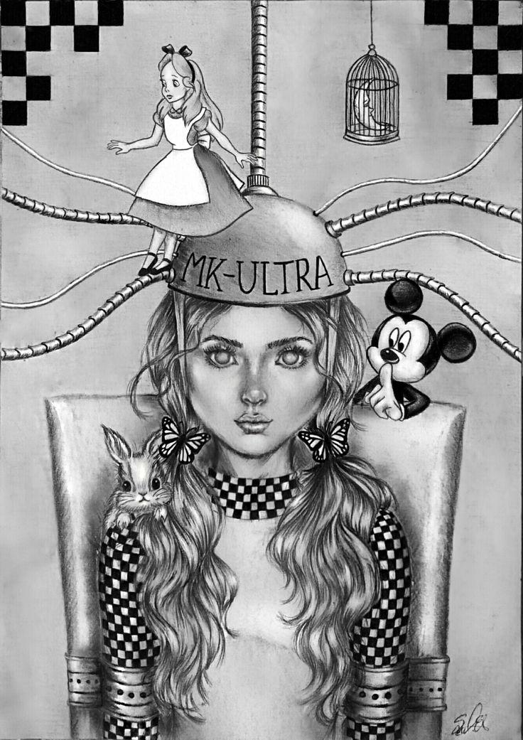 Mk ultra mind control brainwash monarch programming illuminatti disney  #mkultra alice in wonderland sketch drawing illustration e.l.ena.s mickey mouse MK ULTRA