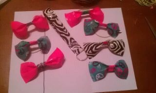 I made duct tape bows for the girls and a keychain for me!