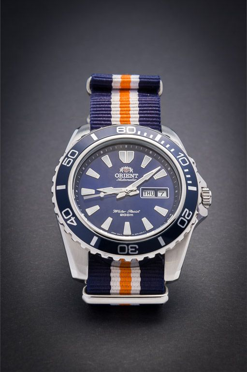 Blue Orient Mako on blue and orange nato