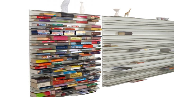 Paperback bookshelf by Studio Parade: a shelf that displays horizontally makes it much easier to read the spine.