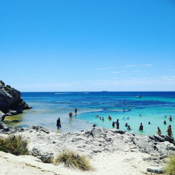B L I S S Lounging at The Basin on Rottness Island... All Anna Carla Swimwear is UV treated, perfect for a day like today!