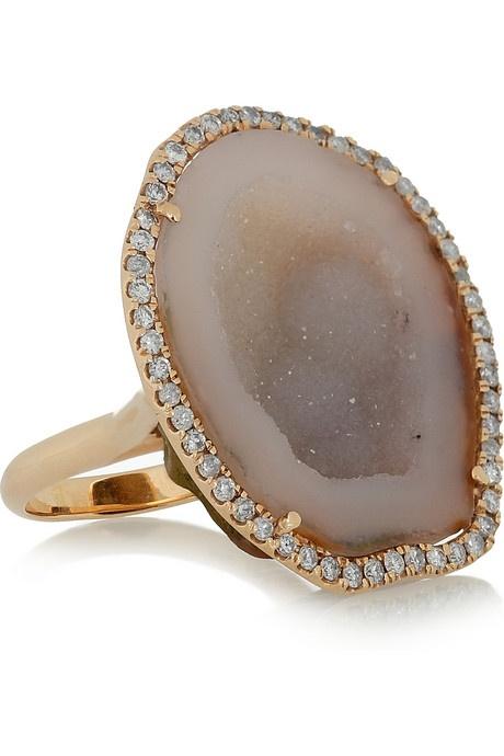 Kimberly McDonald rose gold druzy and diamond ring