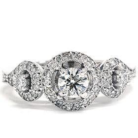 104CT Diamond 3 Stone Engagement Antique Vintage Halo by Pompeii3, $699.00