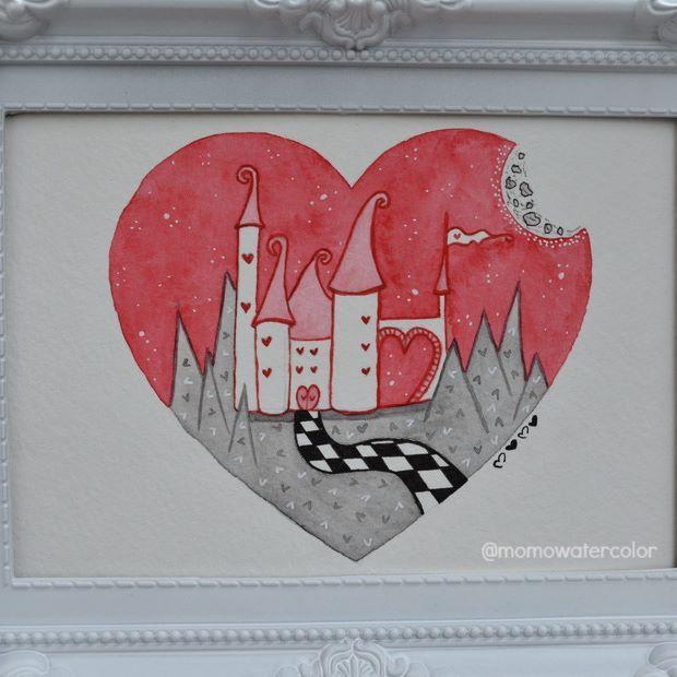 .: Inktober - Day 30 :. The Queen of Heart's castle. El castillo de la Reina de Corazones.  #inktober #inktober2016 #aliceinwonderland #queenofhearts #redqueen #reinadecorazones #aliciaenelpaisdelasmaravillas #watercolor #watercolorpainting #painting #drawing #illustration #castle