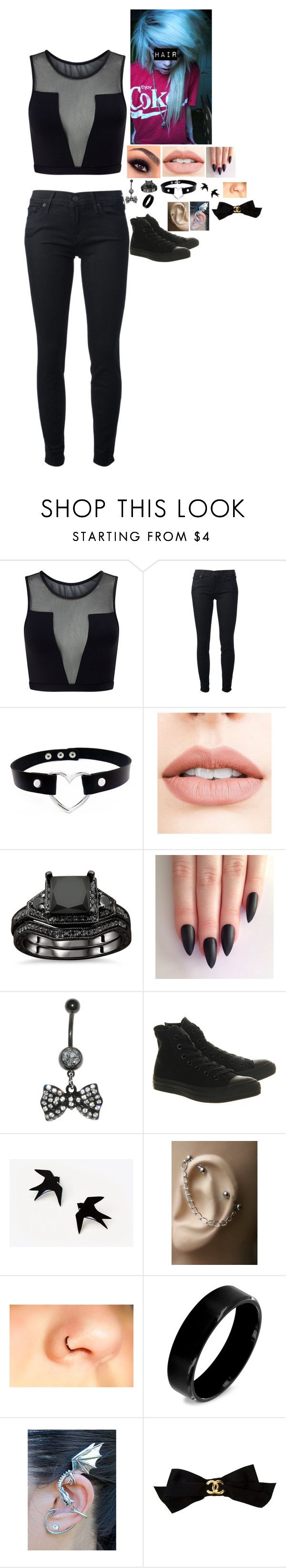 """""""""""The Kids Aren't Alright"""" - Fall Out Boy"""" by wonderland-13-swift ❤ liked on Polyvore featuring Varley, 7 For All Mankind, Jouer, Converse, West Coast Jewelry and Chanel"""