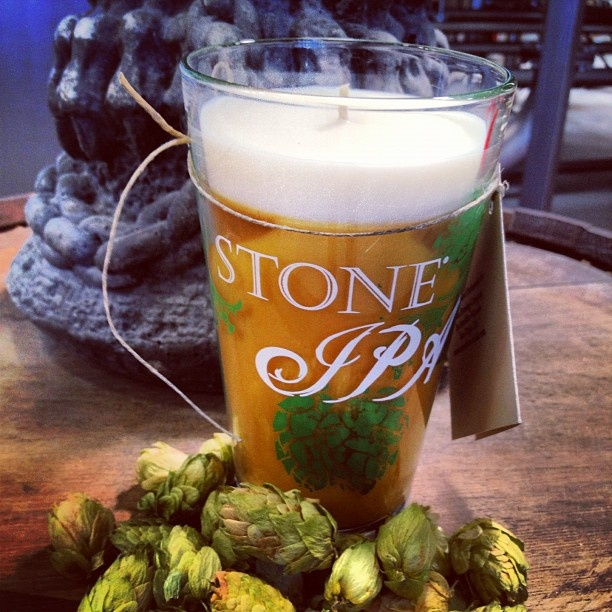 The new Stone IPA candle is made with soy wax, and once it's all burned out, you've got an epic new pint glass to drink from. Win.