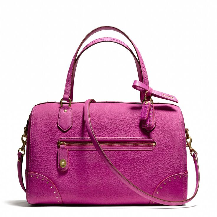 The Coach Poppy East/West Satchel in Studded Leather: 20% from the purchase of this product will be donated to The Breast Cancer Research Foundation®.