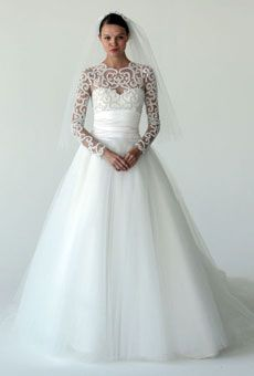 Romantic winter wedding dress; Style B60841 by Marchesa
