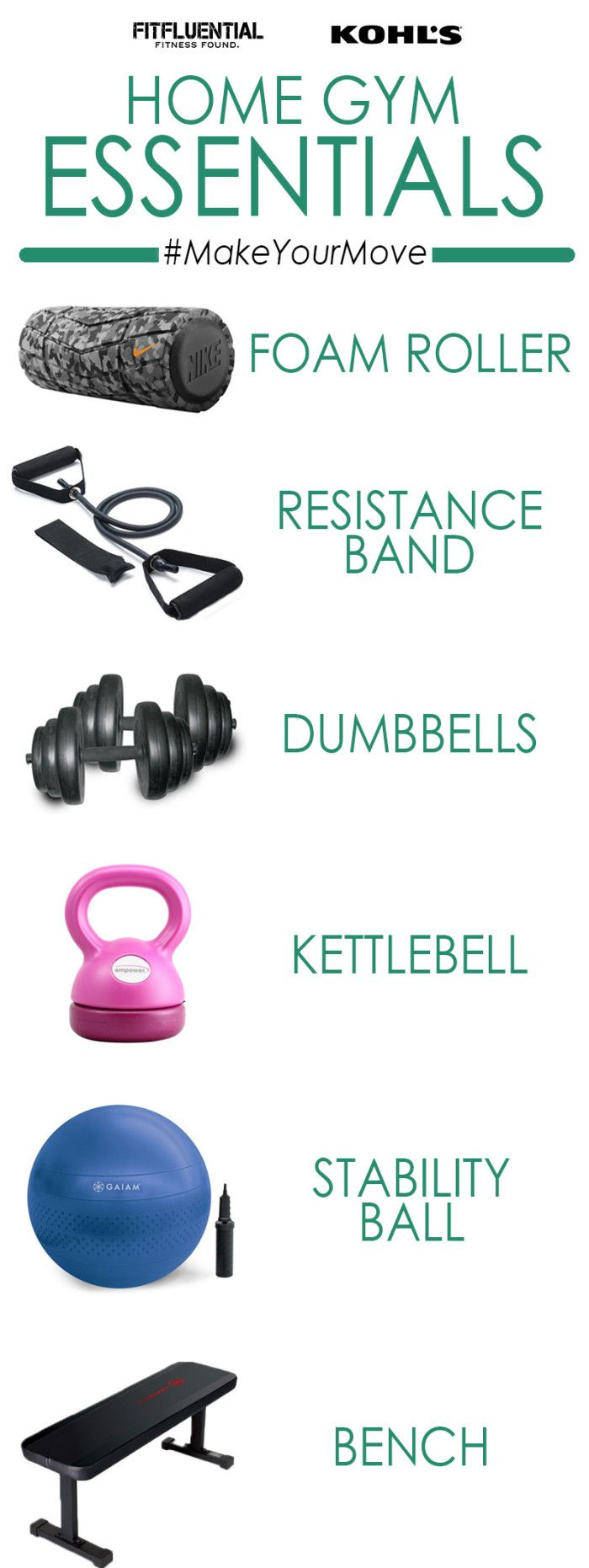 #MakeYourMove with home workout essentials -- all of these are FANTASTIC for a home gym. #ad #fitfluential via @kohls @fitfluential