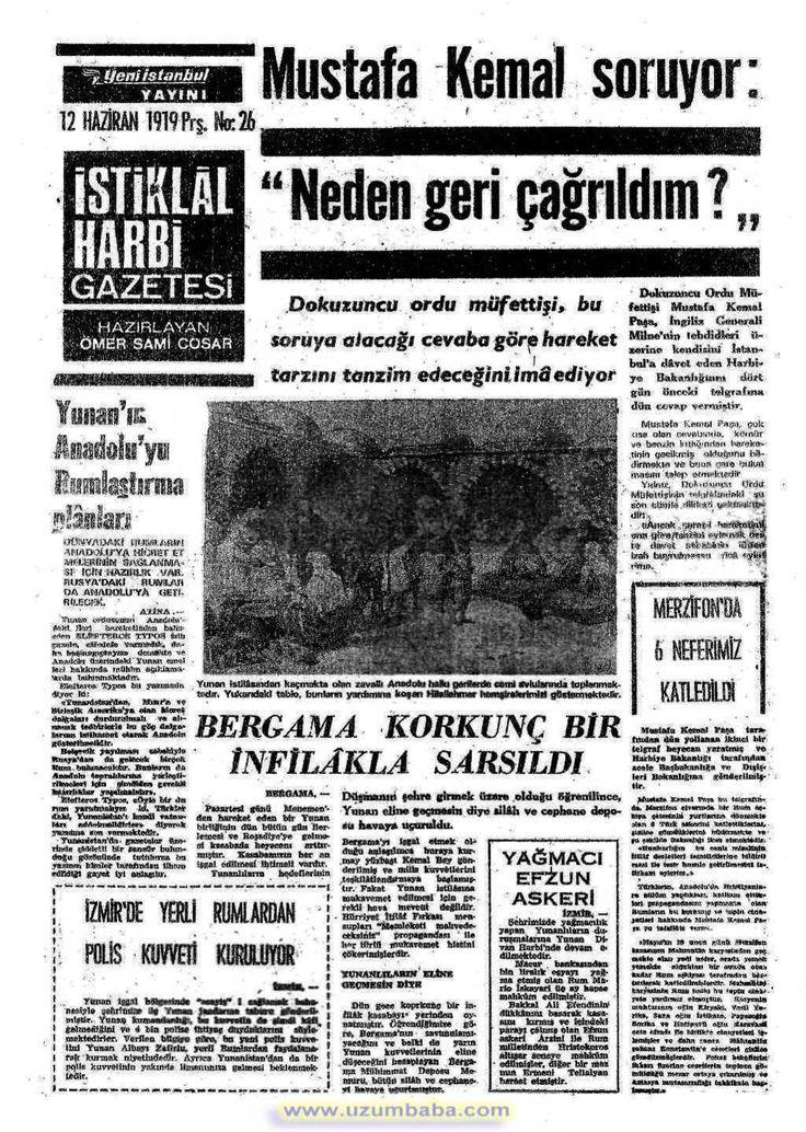 İstiklal Harbi gazetesi 12 haziran 1919