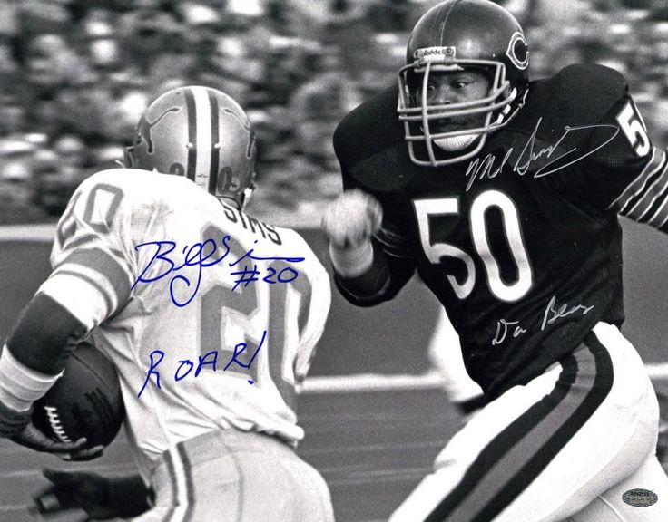 "Mike Singletary & Billy Sims Signed Bears vs Lions 11x14 Photo Inscribed ""Da Bears"" & ""ROAR!"" (Schwartz COA)"