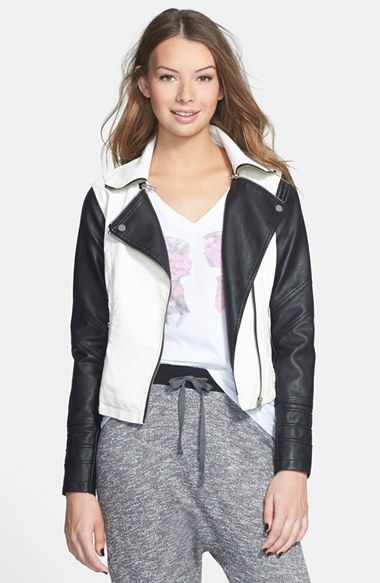 Girl Colorblock Faux Leather Jacket (Juniors) at Nordstrom.com. Black ...