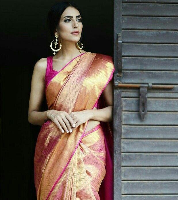 Handwoven Kanjivaram Silk Saree with Zari Border