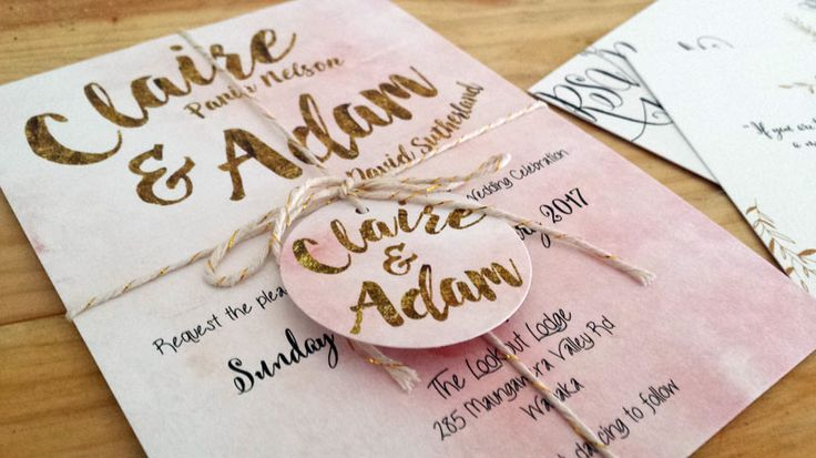 Pink and gold glitter wedding invitation by Beechtree Creative.
