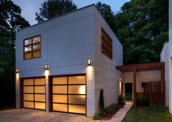 inspiring modern and contemporary detached garage design ideas the glass garage doors with the wall