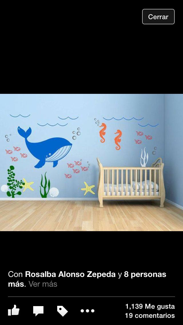 Kids room vinyl wall decal underwater theme seaweed fish sea star seashell whale and seahorse bathroom bedroom decals wall sticker stickers
