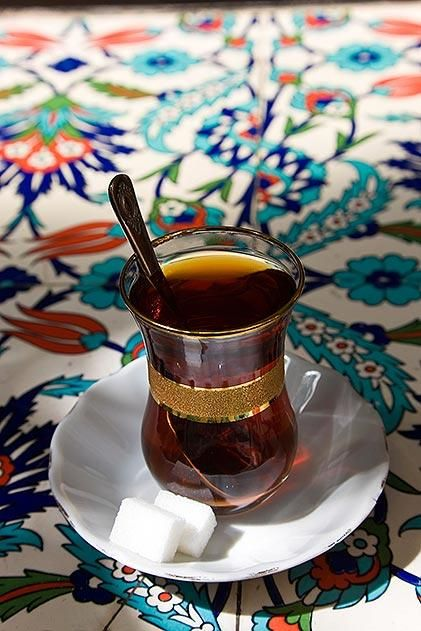 Tea is a daily ritual of Turkish life. Istanbul's teahouses are centers of social life in the city.Istanbul, Turkey