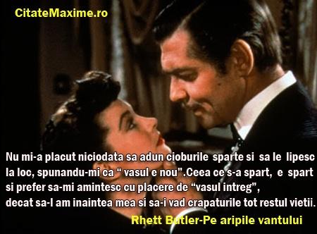 """""""Nu mi-a placut niciodata sa adun cioburile sparte si sa le lipesc la loc, spunandu-mi ca """"vasul e nou"""". Ceea ce s-a spart, e spart si prefer sa-mi amintesc cu placere de """"vasul intreg"""", decat sa-l am inaintea mea si… (citeste mai mult)"""" #CitatImagine de Rhett Butler Din Pe Aripile Vantului Iti place acest #citat? ♥Distribuie♥ mai departe catre prietenii tai. #CitateImagini: #DezamagireInDragoste #RhettButlerDinPeAripileVantului #romania #quotes Vezi mai multe #citate pe…"""