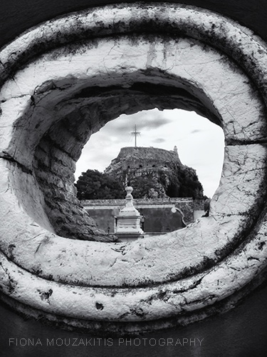 EYE OF THE WALL. Opening in the Old Fort Wall. Corfu Greece.