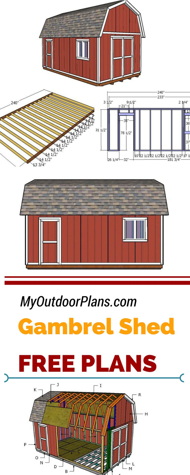 If you need more storage space in your backyard, you should check out my free gambrel shed plans. This 12x20 shed is ideal for a small workshop or for storing tools and other small items!