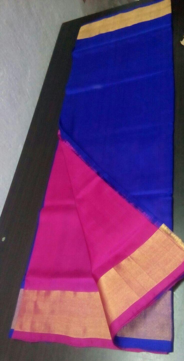Blue and pink uppada silk