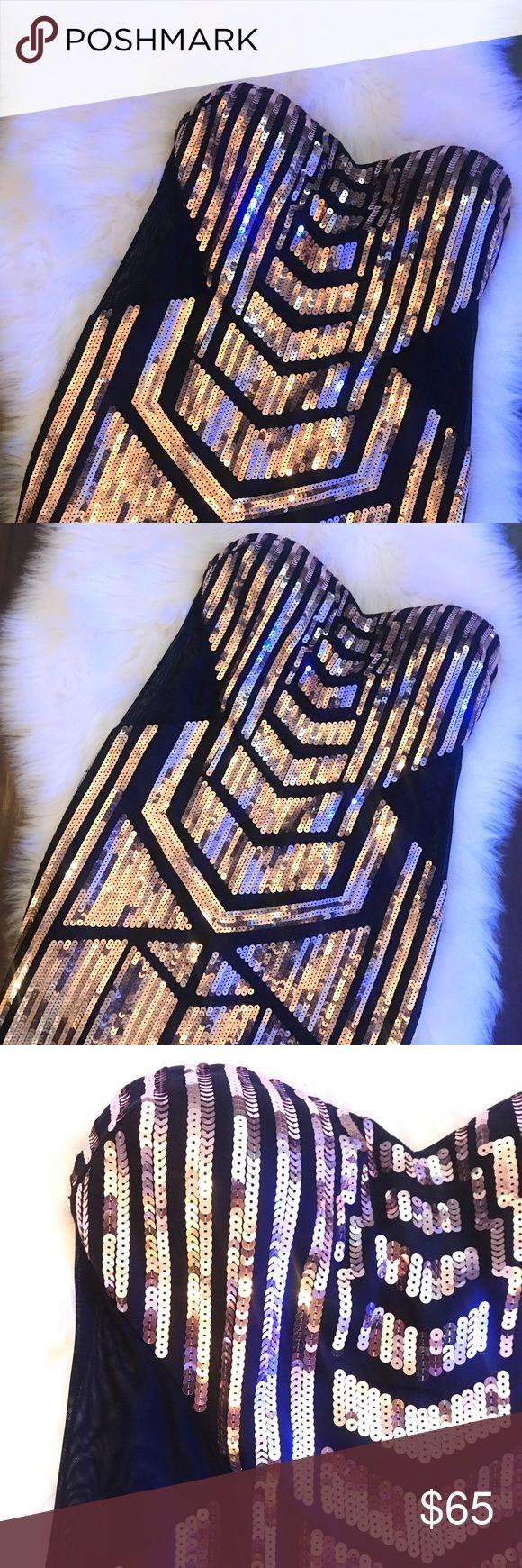 Bebe Tessa Mesh Inset Sequence Dress Bebe Tessa Mesh Inset Sequence Dress in Large. 94% Polyester, 6% Spandex. Mesh paneling on sides of Dress. bebe Dresses