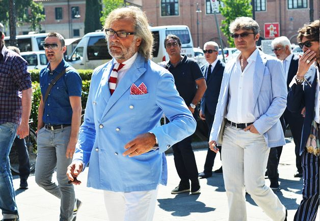 Tommy Ton's Street Style: Pitti Uomo    White, Red & Baby Blue