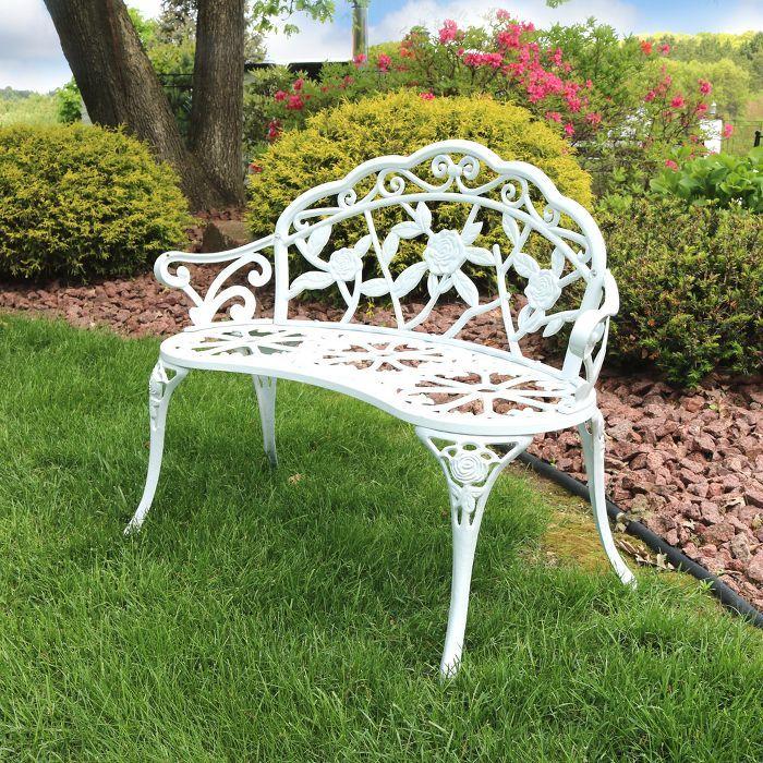 Garden Bench, White Cast Aluminum Garden Benches