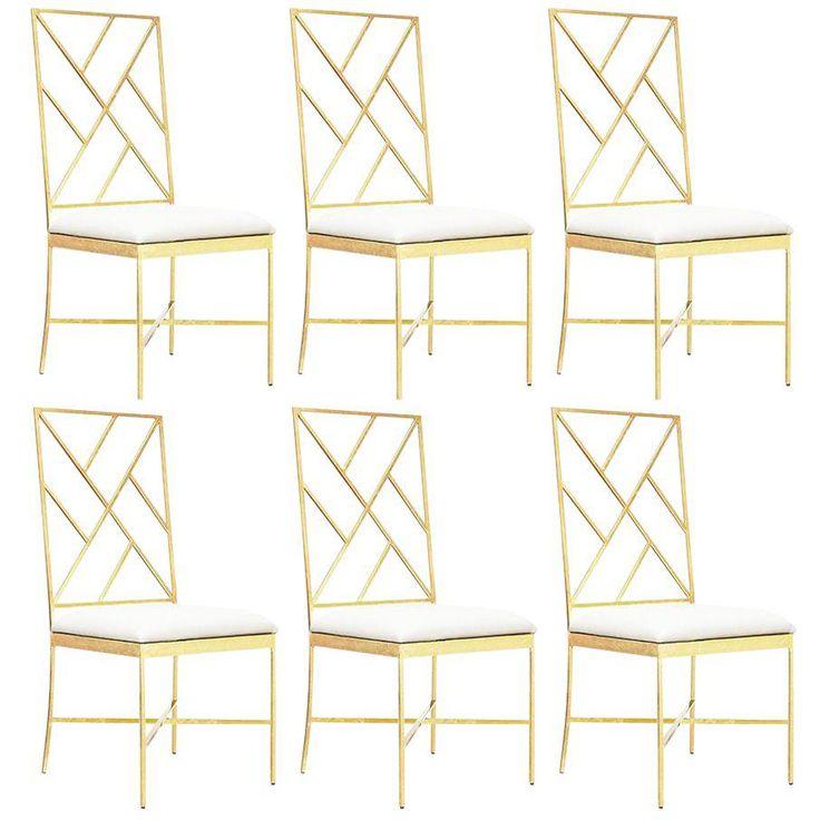 Worlds Away Ashton Gold Chairs, White – Set Of 6 - Image 1 of 2