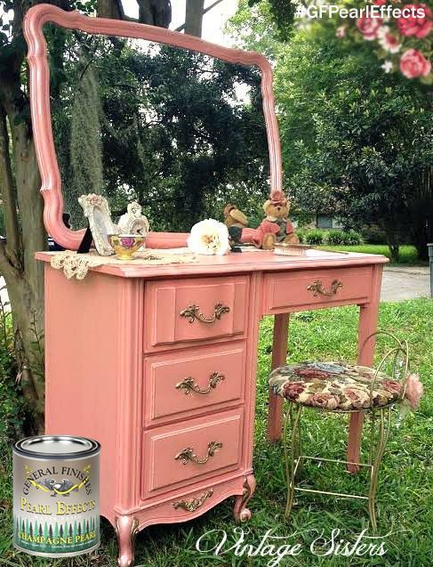 This pretty vanity got a touch of shimmer with General Finishes Champagne Pearl Effects by Twisted Sisters, https://www.facebook.com/vintagesisters2?fref=ts.  Check out or other Pearl Effects colors by clicking on the pic above.