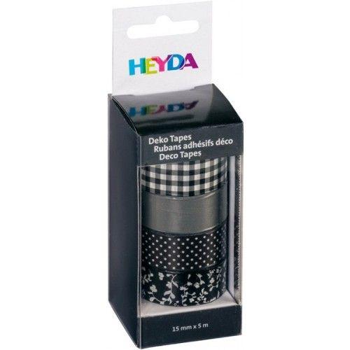 Tasiemki dekoracyjne z klejem - Heyda - Czarny