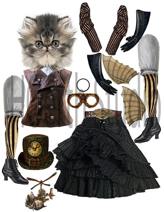 Steampunk paper doll time traveler kitty от Raidersofthelostart