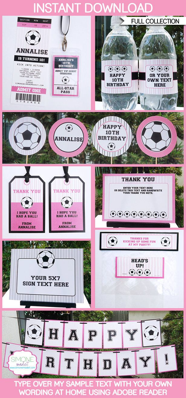 Girls Soccer Party Printables, Invitations & Decorations | Editable Birthday Party Theme Templates | INSTANT DOWNLOAD $12.50 via SIMONEmadeit.com